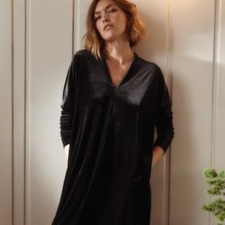 The White Company Jersey Velvet Batwing Dress, Black, 6