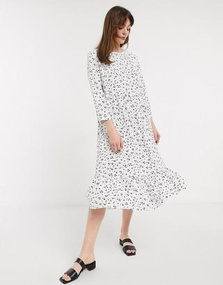 Glamorous midi smock dress in spot print