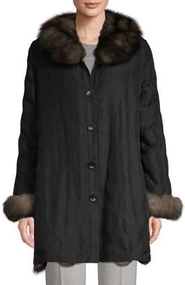 Belle Fare Reversible Fox Fur & Silk Jacket