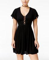 Volcom Juniors' Lattice Cutout-Back Fit & Flare Dress