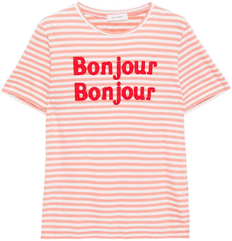 Chinti and Parker Appliqued Striped Cotton-jersey T-shirt