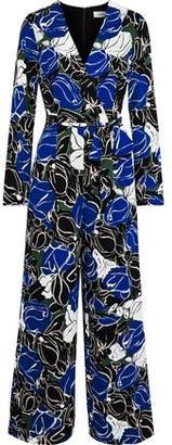 Diane von Furstenberg Edith Wrap-effect Printed Crepe De Chine Jumpsuit