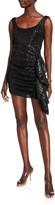 Sho Sequin Sleeveless Side-Drape Mini Shirred Dress