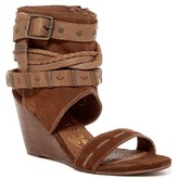 Naughty Monkey Lasalle Suede & Leather Cuffed Wedge Sandal