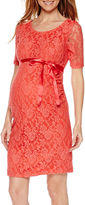 Asstd National Brand Planet Motherhood Elbow Sleeve Lace Dress with Bow Belt-Maternity