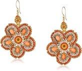 Miguel Ases Coral Flower Drop Earrings