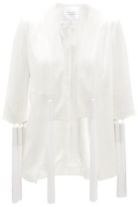 Galvan Sevilla Collarless Tassel-trimmed Crepe Jacket - White