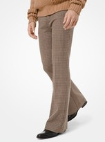 Michael Kors Dogtooth Wool Flare Trousers