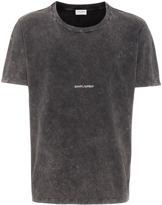 Saint Laurent logo-print distressed-effect T-shirt