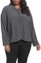 Eileen Fisher Plus Size Women's Mandarin Collar Boxy Top