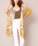 Avenue Zoe Women's Kimono Cardigans MUSTARD - Mustard Python Kimono - Women