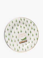 Anthropologie Christmas Tree Side Plate, 21.5cm, Green/Multi