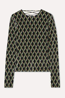 Preen by Thornton Bregazzi Noa Satin-trimmed Printed Stretch-velour Top - Black