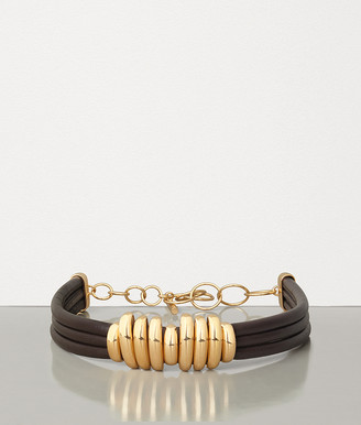 Bottega Veneta NECKLACE IN GOLD PLATED SILVER AND NAPPA