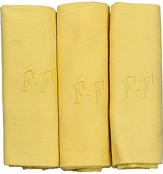 One Kings Lane Vintage Antique French Organic Dyed Napkins - Set of 6 - Rose Victoria - daffodil