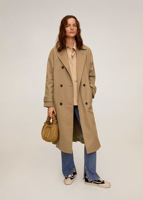 MANGO Buttoned long trench