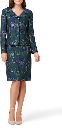 Tahari Metallic Floral Jacquard Jacket & Skirt