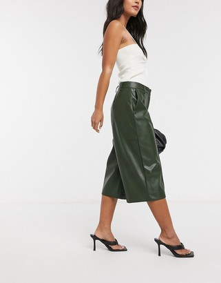 Vero Moda leather look longline shorts in khaki