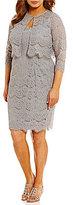 Alex Evenings Plus Scalloped Lace Jacket Dress