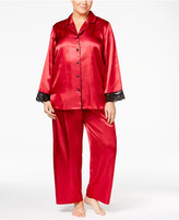 Thalia Sodi Plus Size Satin Contrast-Trimmed Pajama Set, Only at Macy's