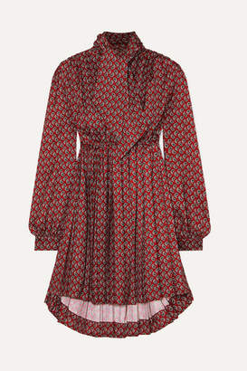 Balenciaga Pussy-bow Pleated Paisley-print Crepe Mini Dress - Burgundy