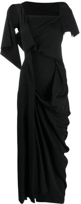 Yohji Yamamoto Ruched Detail Midi Dress