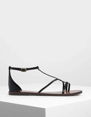 Charles & Keith Asymmetrical Strappy Flats