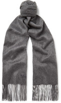 Mulberry Fringed Mélange Cashmere Scarf