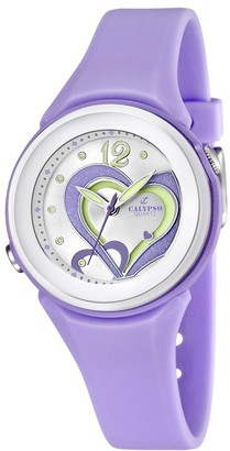 Calypso Women's Quartz Watch with Silver Dial Analogue Display and Purple Plastic Strap K5576/4