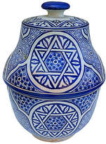 One Kings Lane Vintage Moroccan Blue Ceramic Lidded Bowl