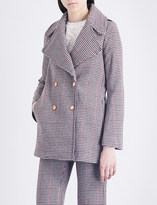 See by Chloe Houndstooth double-breasted wool-blend coat