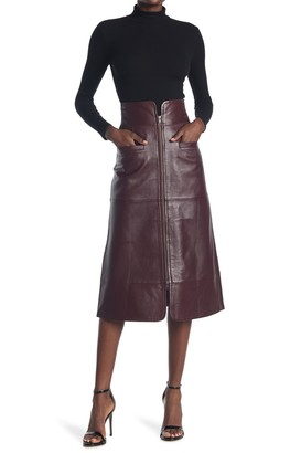 Sea Zip Front Leather Midi Skirt