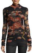 Fuzzi Floral-Print Stretch-Tulle Turtleneck, Black/Red