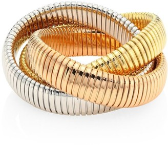 Bagutta Via 18K Tri-Gold Three Row Tubogas Flex Wrap Bracelet
