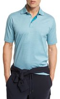 Ermenegildo Zegna Diamond-Textured Polo Shirt, Green