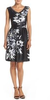 Ellen Tracy Embellished Satin Fit & Flare Dress
