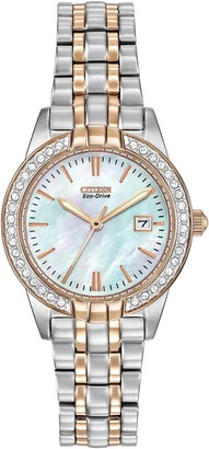 Citizen Women's Eco-Drive Silhouette Swarovski Crystal Watch with Mother of Pearl Analogue Display and Stainless Steel Bracelet EW1686-59D