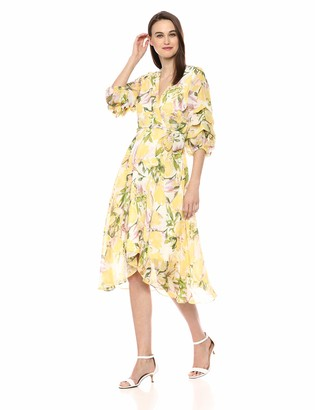 Gabby Skye Women's Elbow Sleeve V Neck Midi A-line Dress