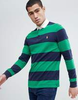 Polo Ralph Lauren Long Sleeve Stripe Rugby Polo Contrast Collar In Green/Navy