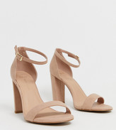 Wide Fit wide fit block heel sandal in tan
