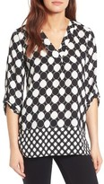 Chaus Women's Checker Dot Roll Sleeve Blouse