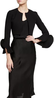 Michael Kors Collection Boucle Ruffle Sleeve Shrug Jacket