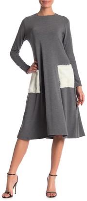 Go Couture Contrast Pocket Crew Neck Dress