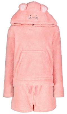 George Pink Shimmering Fleece Hoodie and Shorts Pyjamas