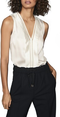 Reiss Chelsea Stretch Silk Sleeveless Blouse