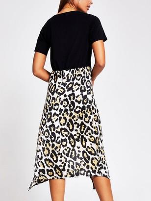 River Island Woven Jersey Mix Midi Dress - Black