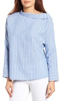 Gibson Petite Women's Asymmetrical Collar Stripe Top