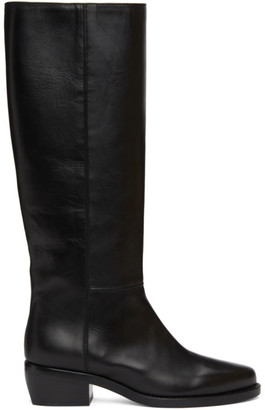 LEGRES Black Leather Riding Boots