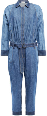 Brunello Cucinelli Cropped Belted Denim Jumpsuit
