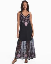 White House Black Market Embroidered Mesh Slip Maxi Dress